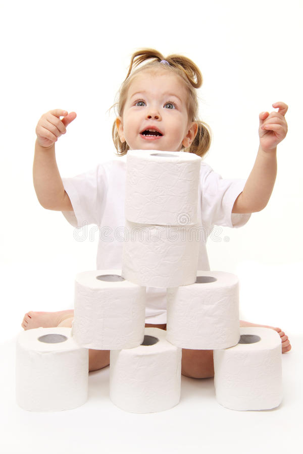 туалет ребёнка бумажный стоковое изображение rf