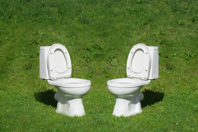 Туалет стоя на лужайке стоковые фотографии rf