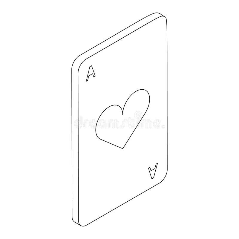 Туз значка сердец, равновеликого стиля 3d иллюстрация вектора