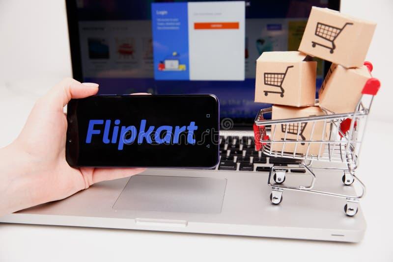Тула, Россия - 18-ое февраля 2019: Логотип Flipkart показанный на современном стоковое фото rf