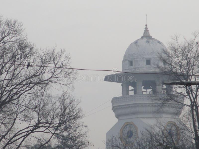 Туманная дата и башня с часами стоковая фотография rf