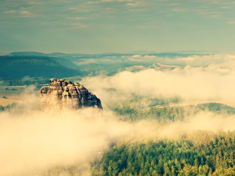 Туманная долина, острые утесы gentle туман отрезка сметанообразный к прокладкам Длинный овраг стоковое фото