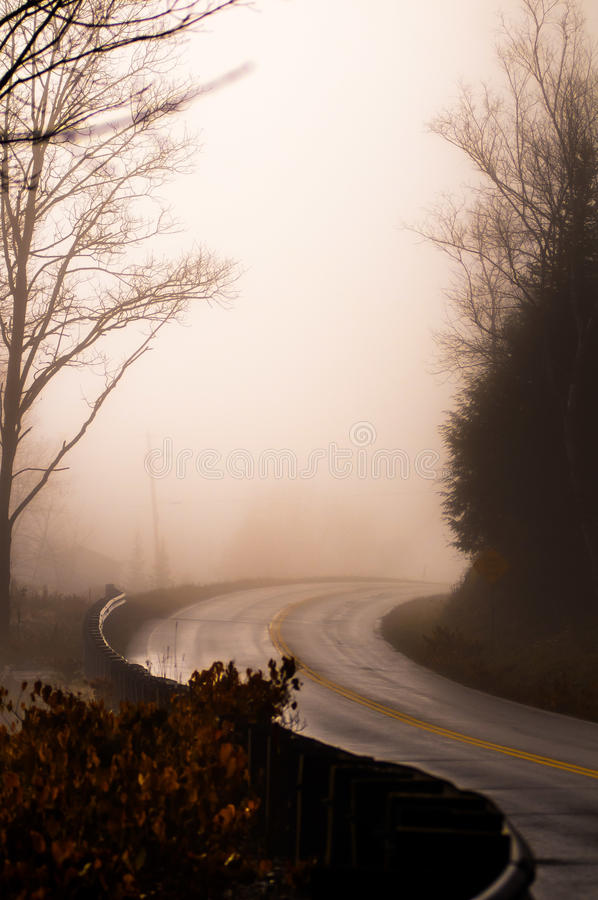 Туманнейшая дорога стоковые фотографии rf