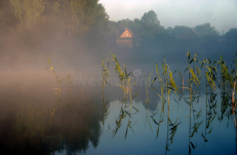 туманнейшее утро озера iv стоковая фотография rf