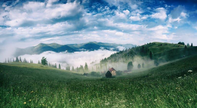 Download Туманнейший ландшафт утра стоковое изображение. изображение насчитывающей гора - 104630293
