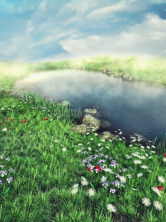 Туманное озеро с цветками иллюстрация вектора