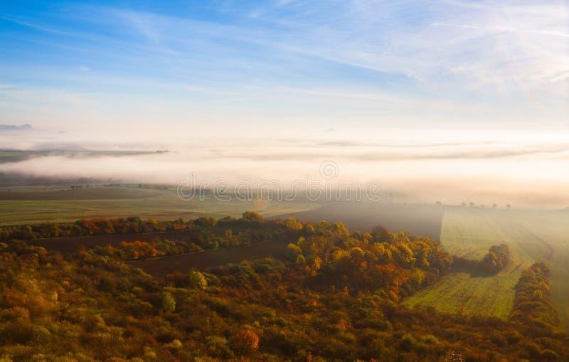 Туманное утро в центральных богемских гористых местностях, чехия стоковые изображения