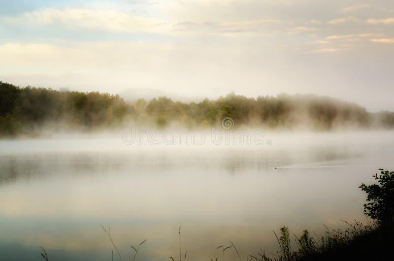 Туманное утро на озере Уби, Франция стоковые изображения rf