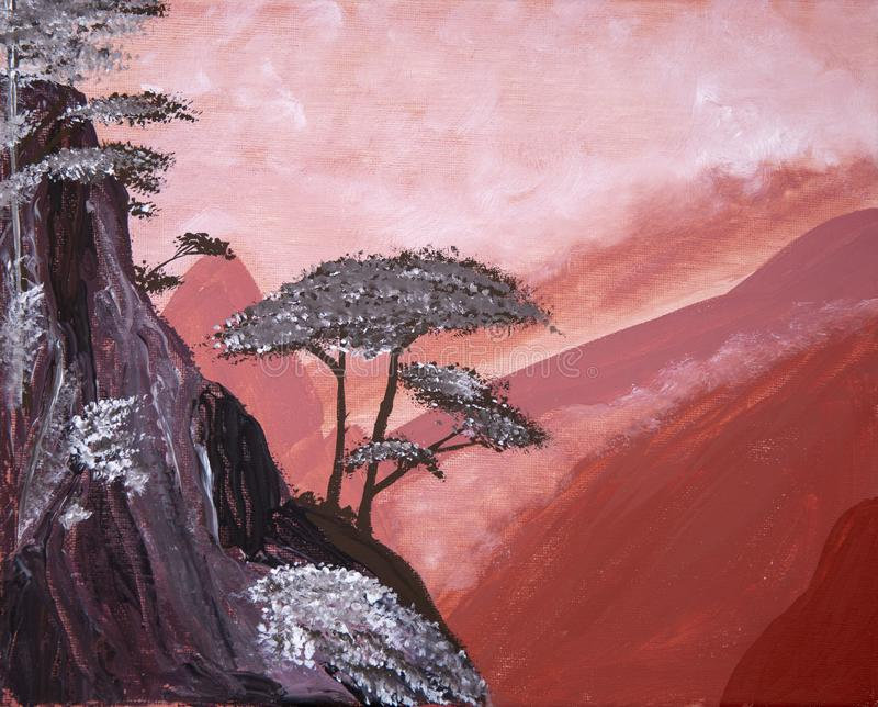 Туманные горы покрашенные с acrylics иллюстрация штока