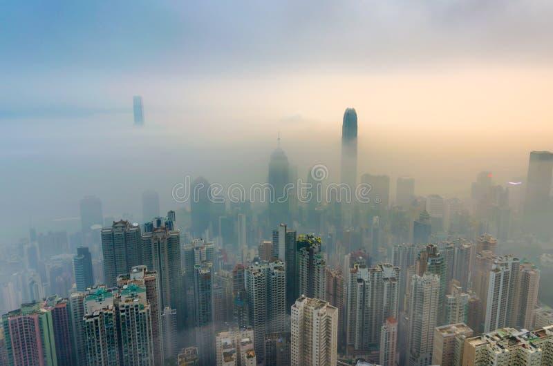 Туманный взгляд Гонконга стоковое фото