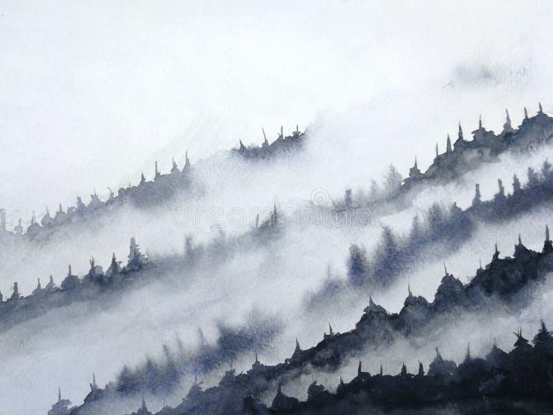 Туман горы ландшафта чернил акварели традиционный восточный стиль искусства Азии чернил рука нарисованная на бумаге иллюстрация вектора