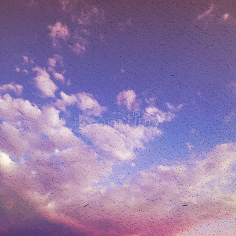 Туман и облака на винтажной текстурированной бумажной предпосылке вектора, wi иллюстрация вектора