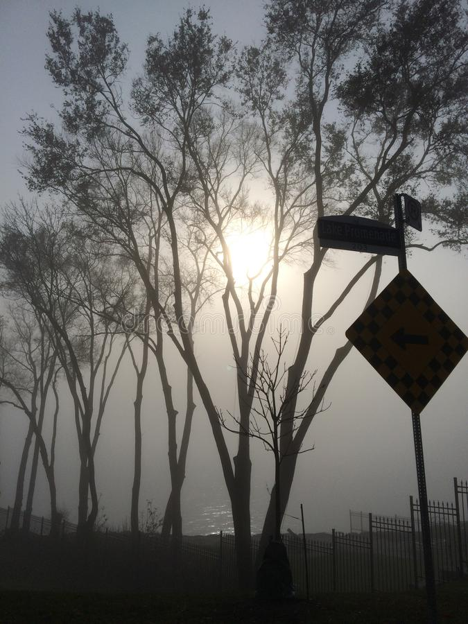 Туман над парком Len Форда и Lake Ontario стоковая фотография