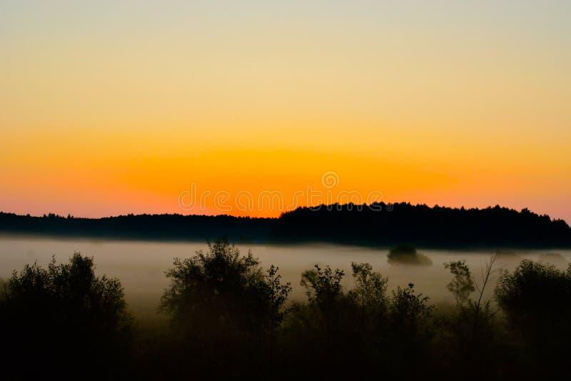 Туман на заходе солнца стоковое изображение