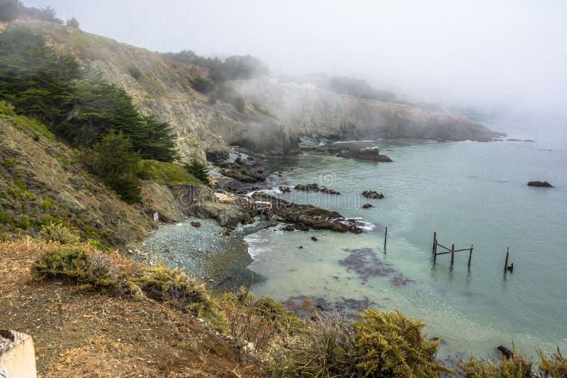 Туман на побережье Bonita пункта, Калифорнии стоковые фото