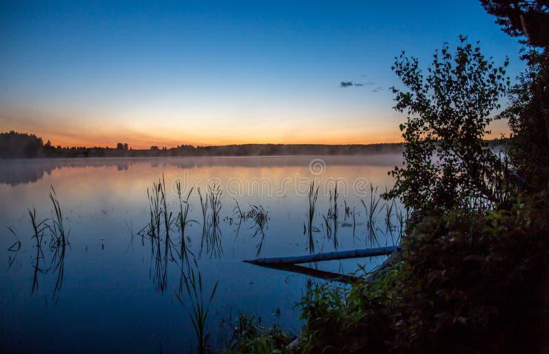 Туман поднимает над озером стоковые фотографии rf