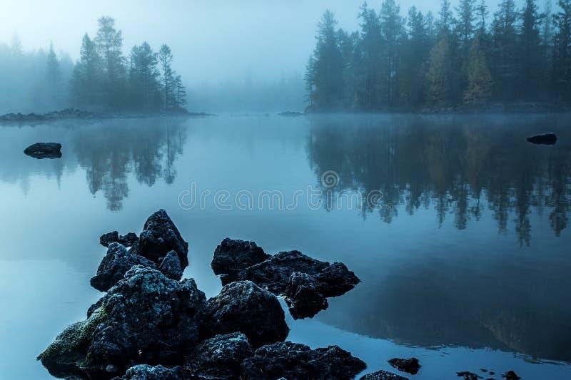 Туман утра на реке Zhombolok стоковые изображения