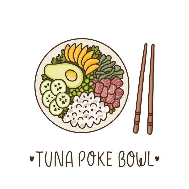 Тунец засовывает шар - гавайское блюдо, рис с тунцом ahi, авокадо, манго, огурец и морскую водоросль иллюстрация штока