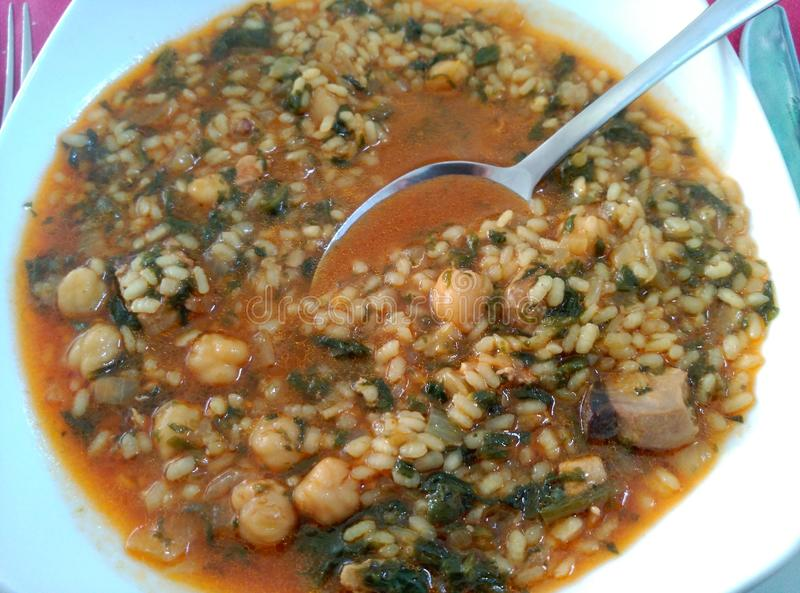 Тунец с шпинатом и рисом стоковая фотография rf