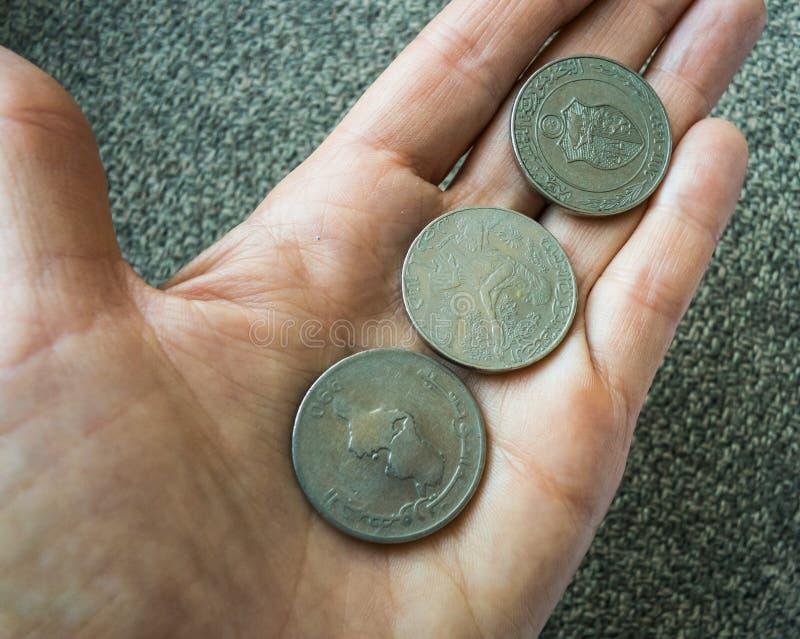 3 тунисских монетки на woman& x27; ладонь s стоковые изображения