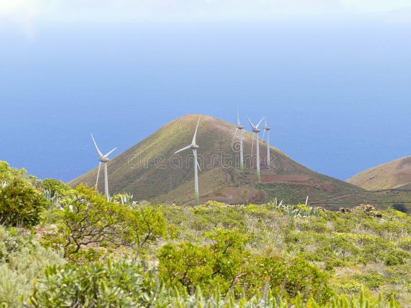 Турбины ветрянки энергии ветра энергии в острове El Hierro стоковая фотография rf