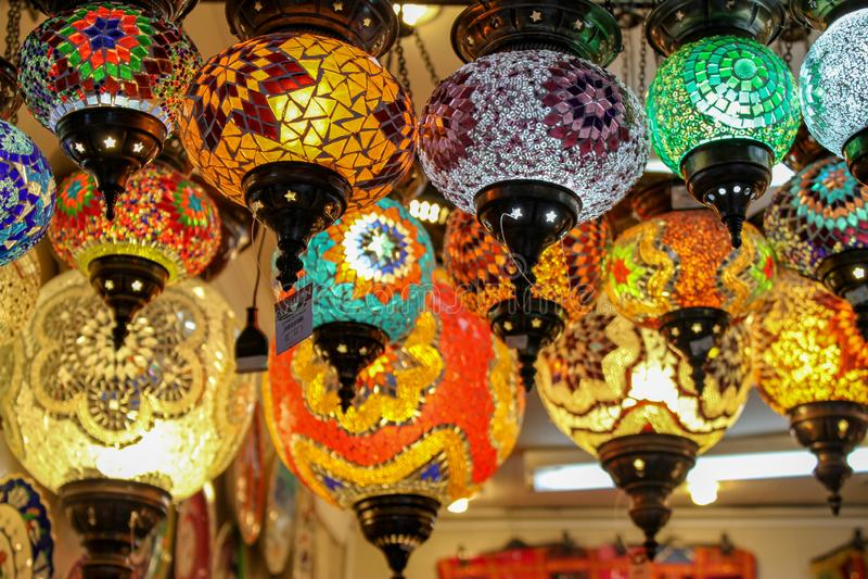 Турецкая лампа мозаики стоковое фото