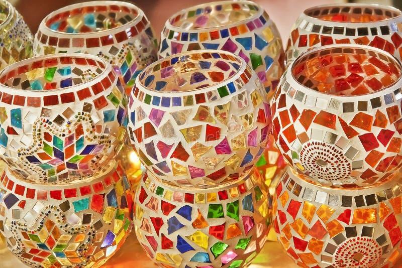 Турецкие фонарики на грандиозном базаре, Стамбуле стоковое фото