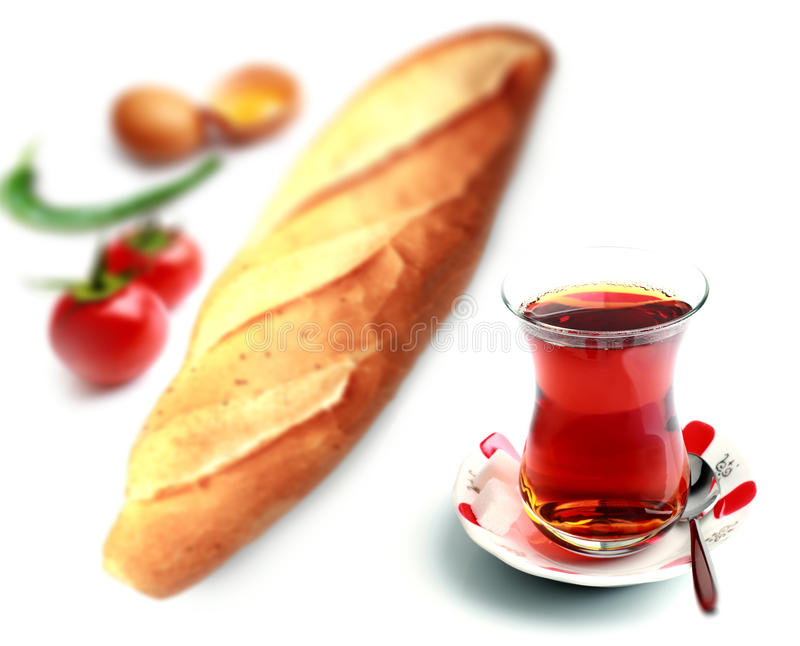 Турецкие чай и menemen стоковое фото rf