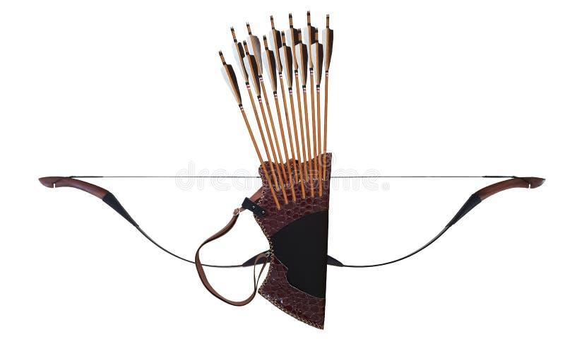 Турецкий смычка лошади стрелки колчана традиционного Archery черный деревянный кожаный в белом изолированном Background0 001 стоковое изображение rf