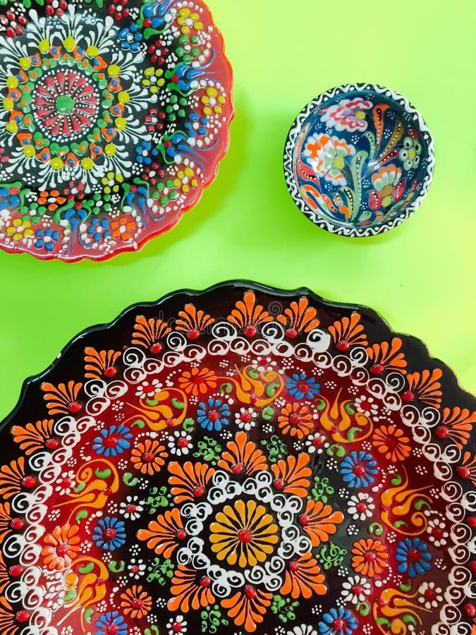 Турецкой плита напечатанная рукой стоковые изображения rf