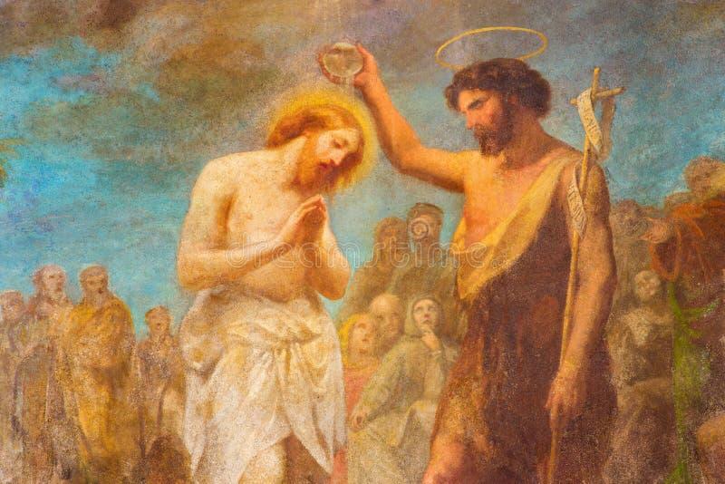 ТУРИН, ИТАЛИЯ - 15-ОЕ МАРТА 2017: Фреска крещения Христоса в церков Chiesa di Сан Dalmazzo Francesco Gonin стоковое фото