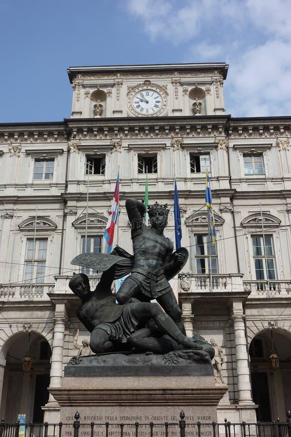 Турин памятник предназначенный к зеленому отсчету стоковая фотография