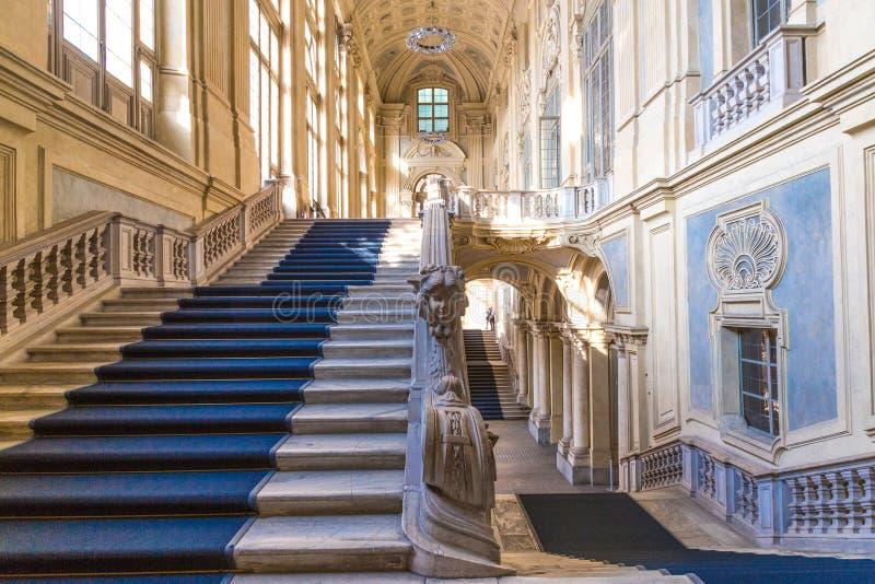 Турин, Пьемонт, Италия, 6-ое января 2016 Дворец Madama, известный p стоковое фото