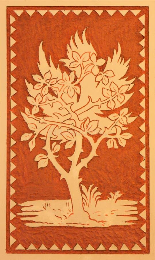 Турин - фреска потолка символическая дерева в меньшей часовне капелле Pinardi - первая часовня Дон Bosco основатель Salesians стоковое фото