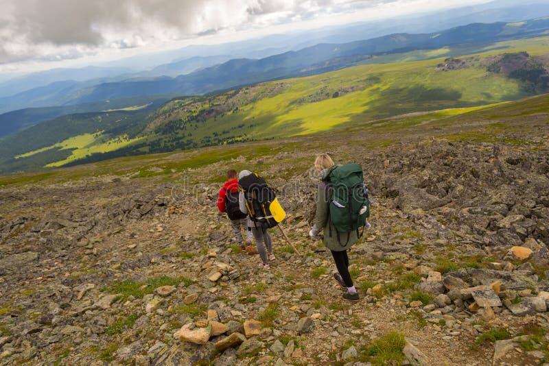 3 туриста 2 девушки и один мальчик с рюкзаками идут вниз с стоковая фотография
