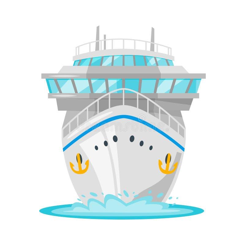Туристическое судно - вид спереди иллюстрация вектора