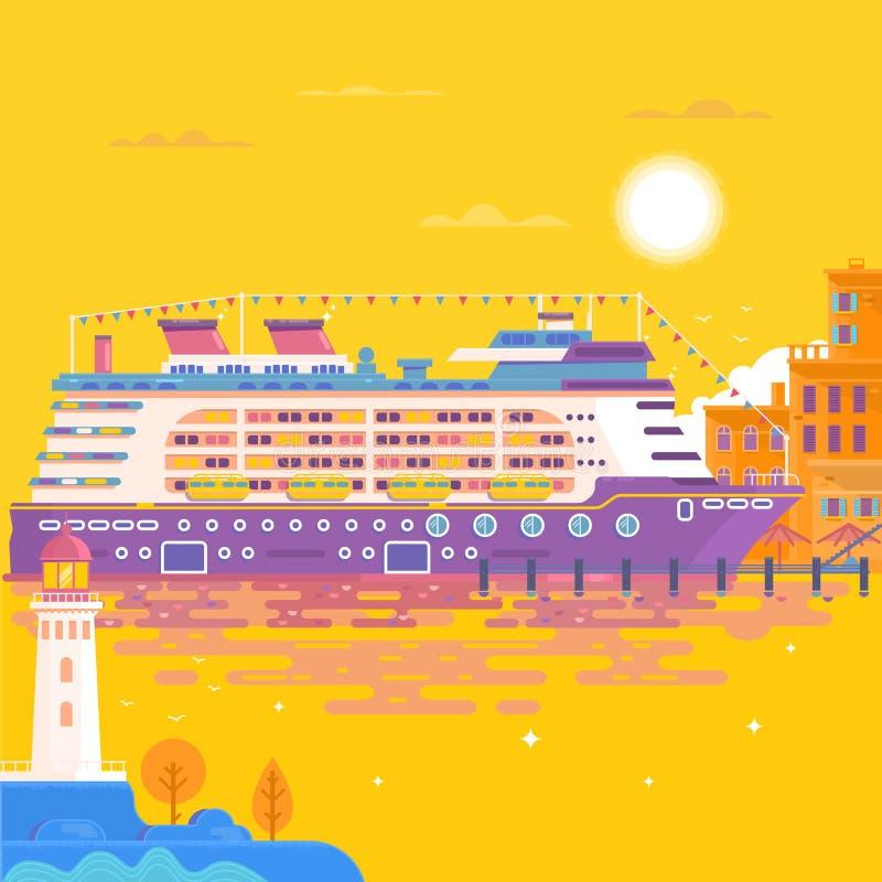 Туристическое судно перемещения лета Ландшафт моря бесплатная иллюстрация