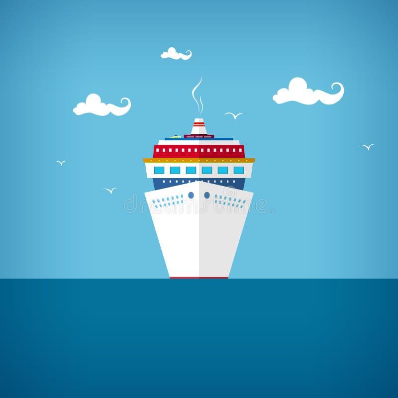 Туристическое судно на море или в океане в солнечном дне