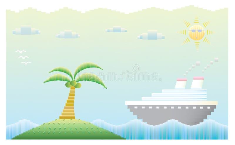 Туристическое судно с островом иллюстрация вектора
