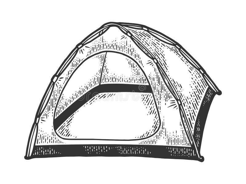 Туристская иллюстрация вектора эскиза шатра иллюстрация вектора