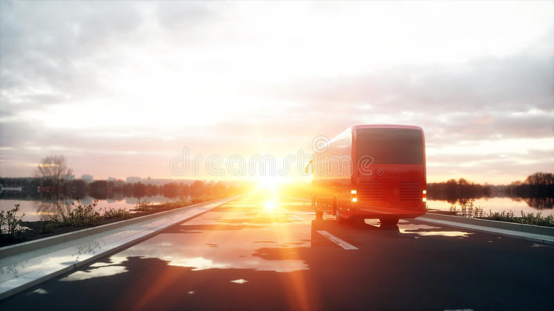 Туристская красная шина на дороге, шоссе Очень быстрый управлять Концепция Touristic и перемещения перевод 3d иллюстрация штока