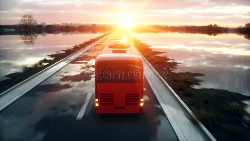 Туристская красная шина на дороге, шоссе Очень быстрый управлять Концепция Touristic и перемещения перевод 3d бесплатная иллюстрация