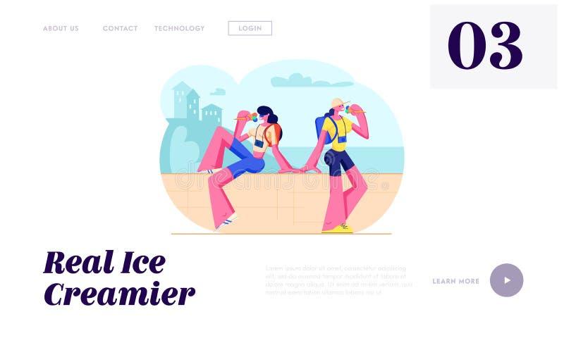 Туристские девушки с камерами фото сидя на парапете есть мороженое в жаркой погоде Путешествовать люди, женщины на каникулах горо иллюстрация вектора