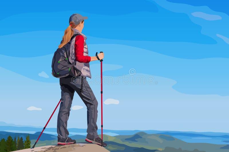 туристские детеныши женщины иллюстрация вектора