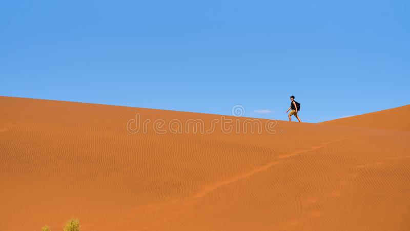 Туристские прогулки на сценарных дюнах Sossusvlei в пустыне Namib, Намибии стоковое фото