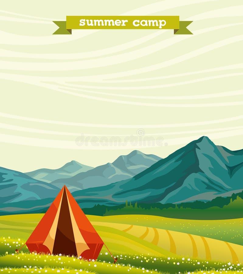 Туристский лагерь и зеленый луг - летнего лагеря иллюстрация вектора
