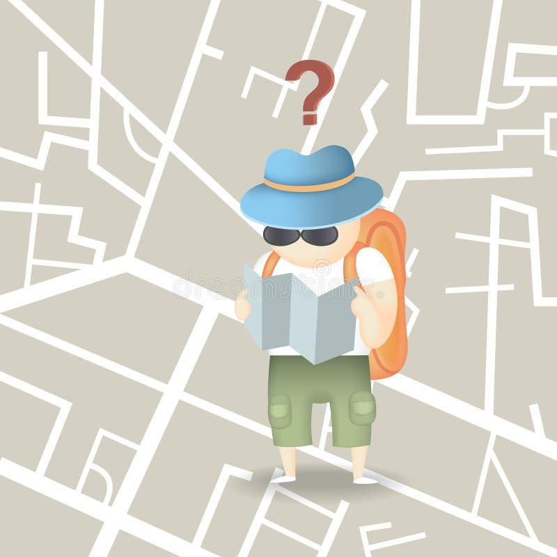 Туристский город рюкзака иллюстрация вектора
