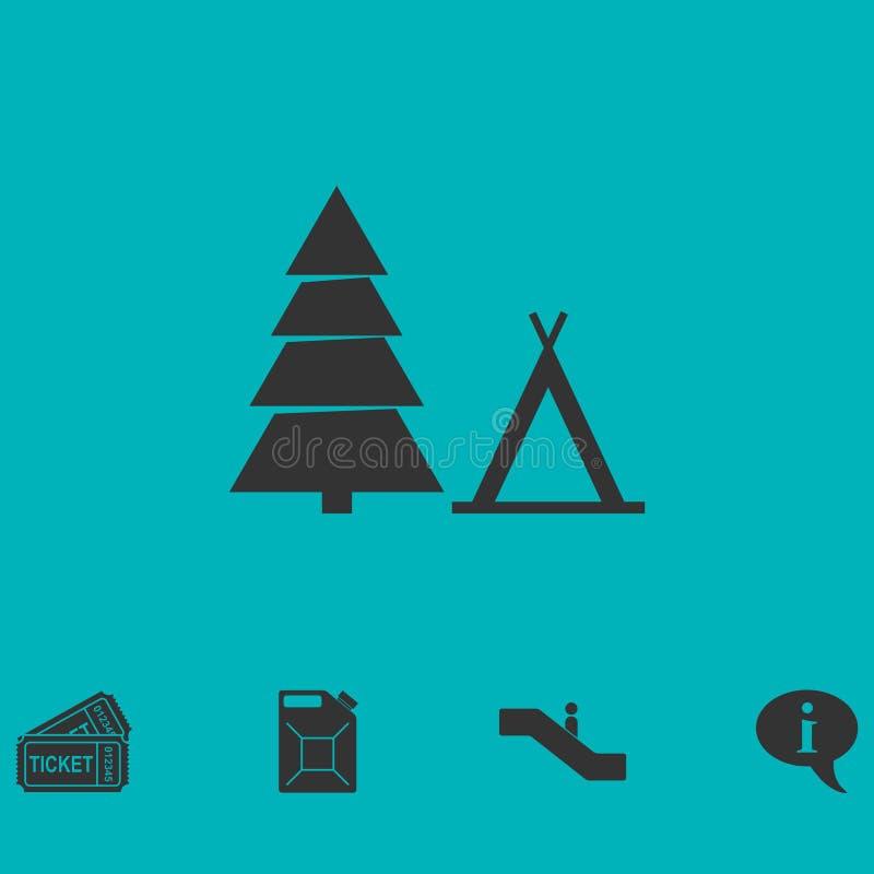Туристский значок шатра плоско иллюстрация штока