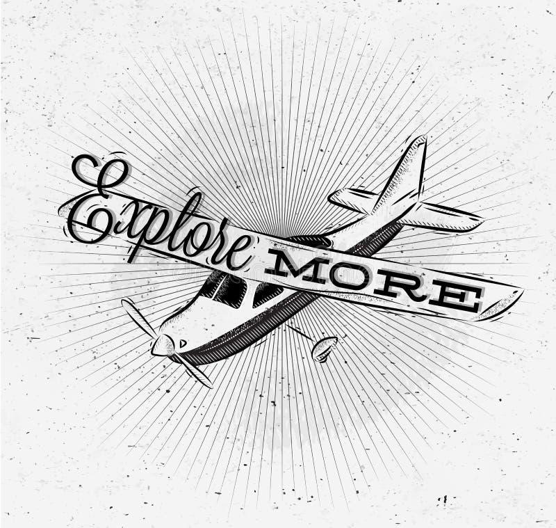 Туристский самолет плаката иллюстрация вектора
