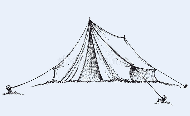Туристский шатер предпосылка рисуя флористический вектор травы иллюстрация вектора